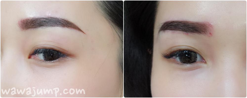 左邊:漂亮的完成霧眉~ 右邊:則是加上了修掉眉頭過於內縮的部分
